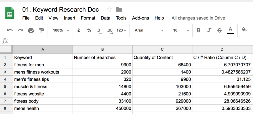 keyword research and tracking document